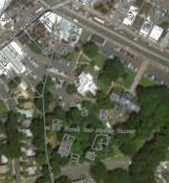 Approximate locations of the buildings in the Self Master Colony which is presently Friberger Park.