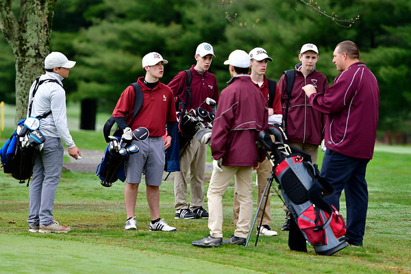 4/30/2019 Mike Orazzi   Staff Bristol Central Golf Coach Tim Barrette at the start of Tuesday's match with Bristol Eastern at Chippanee Golf Club.