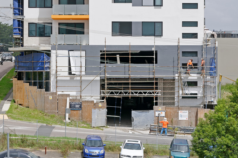 Construction Workers on site at 47 Beane St. Gosford. March, 2019. Building update 209.