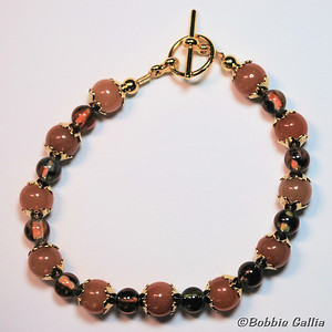 B0902-32, Adventurine and Obsidian Bracelet