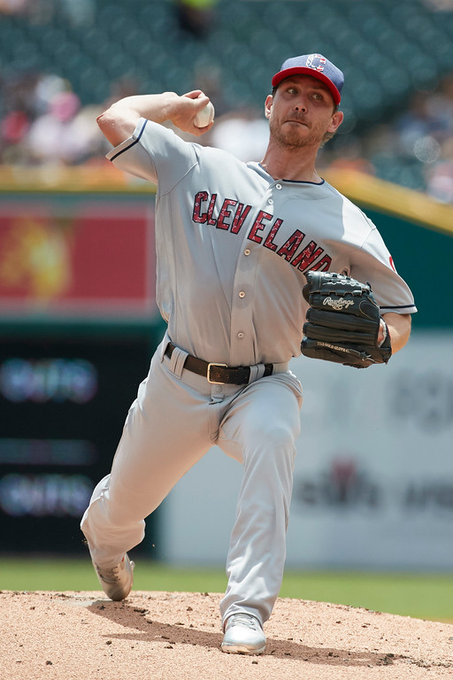 . Cleveland Indians starting pitcher Josh Tomlin (43) pitches against the Detroit Tigers during the first inning in the first baseball game of a doubleheader in Detroit, Saturday, July 1, 2017. (AP Photo/Rick Osentoski)
