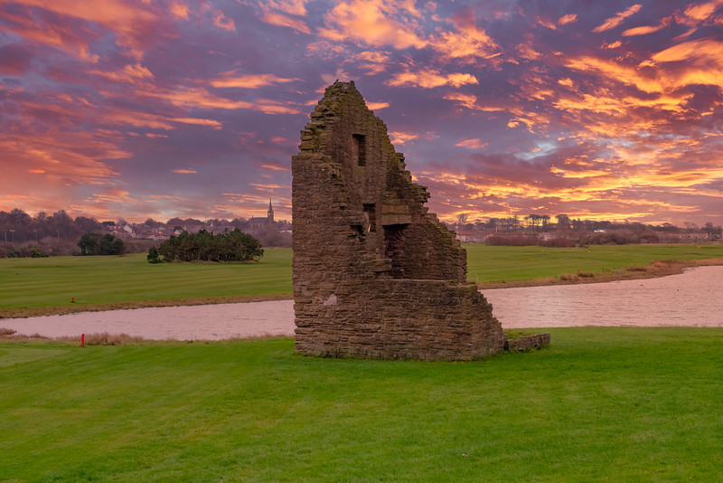 Auchenharvie Colliery Engine House Ruins Stevenston North Ayrshire Scotland at the Sunset end of the Day.
