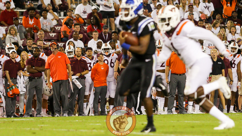 Virginia Tech defensive coordinator Bud Foster looks on as Duke QB Quentin Harris breaks off a long run for a touchdown in the third quarter. (Mark Umansky/TheKeyPlay.com)