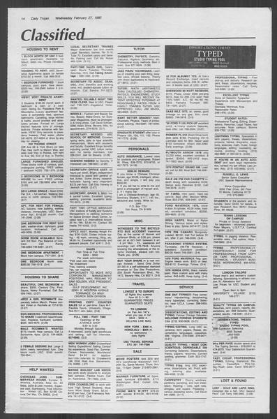 Daily Trojan, Vol. 88, No. 16, February 27, 1980
