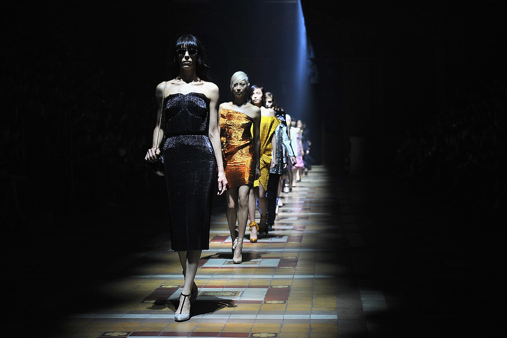 . PARIS, FRANCE - SEPTEMBER 26:  Models walk the runway during Lanvin show as part of the Paris Fashion Week Womenswear  Spring/Summer 2014 on September 26, 2013 in Paris, France.  (Photo by Dominique Charriau/Getty Images)