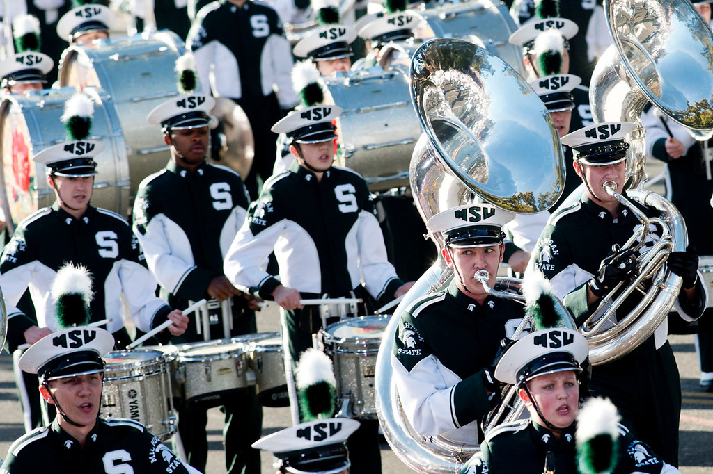 . Michigan State University Spartan Marching band perform during 2014 Rose Parade in Pasadena, Calif. on January 1, 2014. (Staff photo by Leo Jarzomb/ Pasadena Star-News)