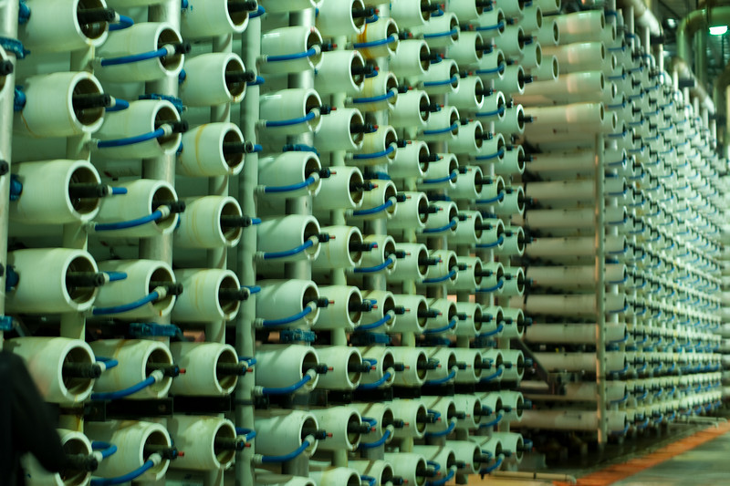 Racks of purification membranes.