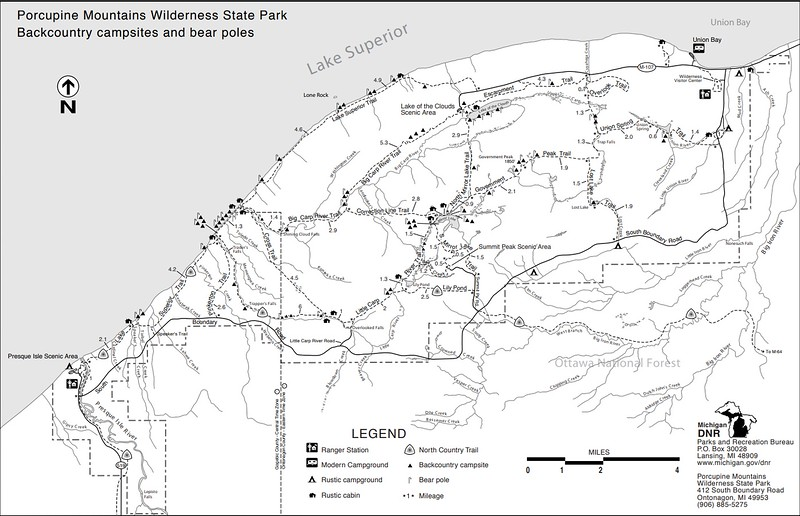 Porcupine Mountains Wilderness State Park (Trail Map)