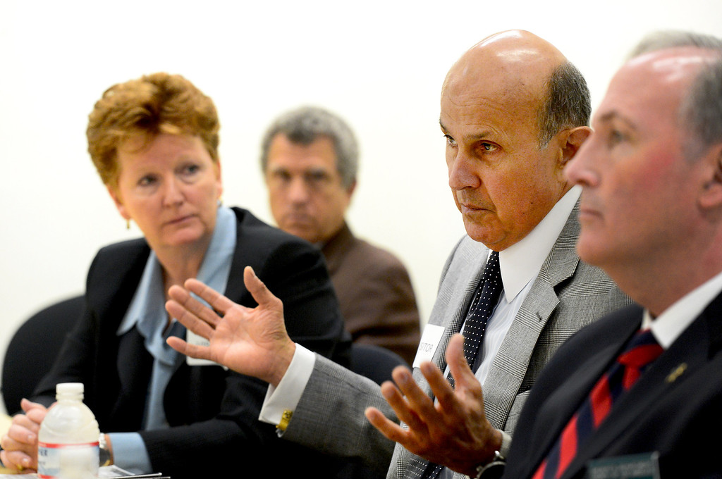 . Sheriff Lee Baca speaks to the editorial board of the Los Angeles News Group Wednesday, March 20, 2013 in West Covina with his senior staff Steve Whitmore, Terri McDonald, and Ted Sexton. (SGVN/Staff Photo by Sarah Reingewirtz)