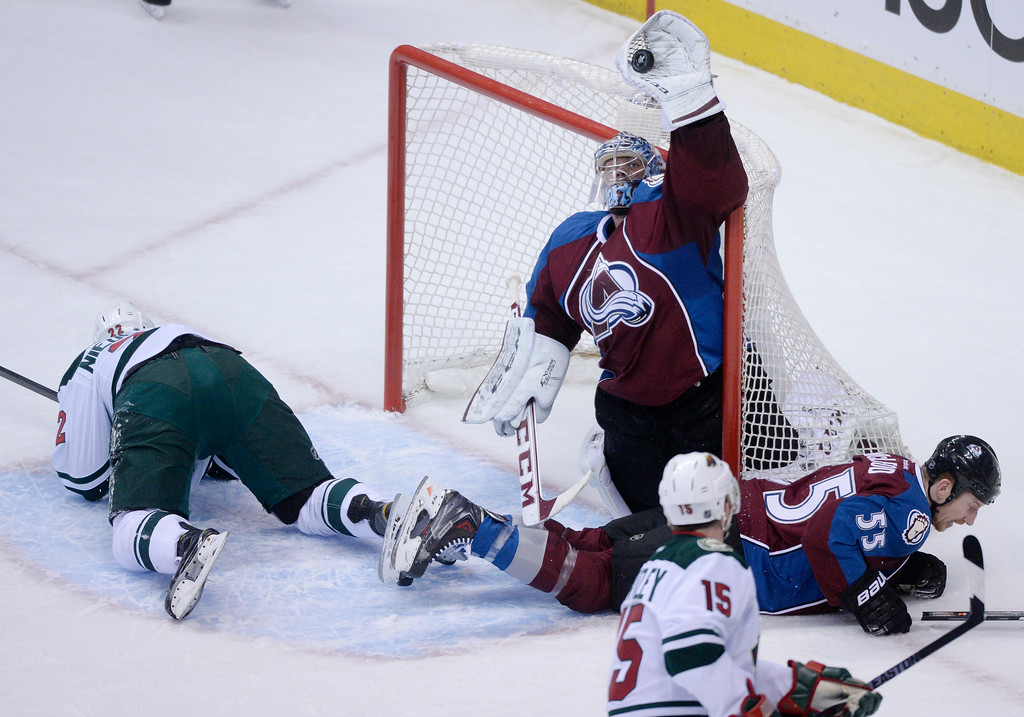 . Semyon Varlamov (1) of the Colorado Avalanche makes a save during the first period of action.   (Photo by Karl Gehring/The Denver Post)