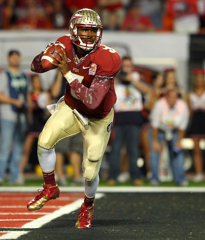 . EJ Manuel #3 of the Florida State Seminoles looks to pass against the Northern Illinois Huskies during the Discover Orange Bowl at Sun Life Stadium on January 1, 2013 in Miami Gardens, Florida.  (Photo by Mike Ehrmann/Getty Images)