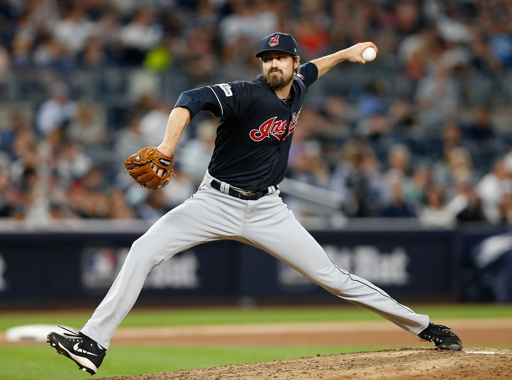 . Cleveland Indians pitcher Andrew Miller delivers against the New York Yankees during the seventh inning in Game 3 of baseball\'s American League Division Series, Sunday, Oct. 8, 2017, in New York. (AP Photo/Kathy Willens)