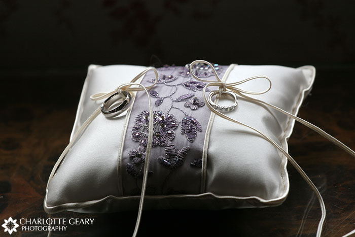 Purple ring bearer pillow
