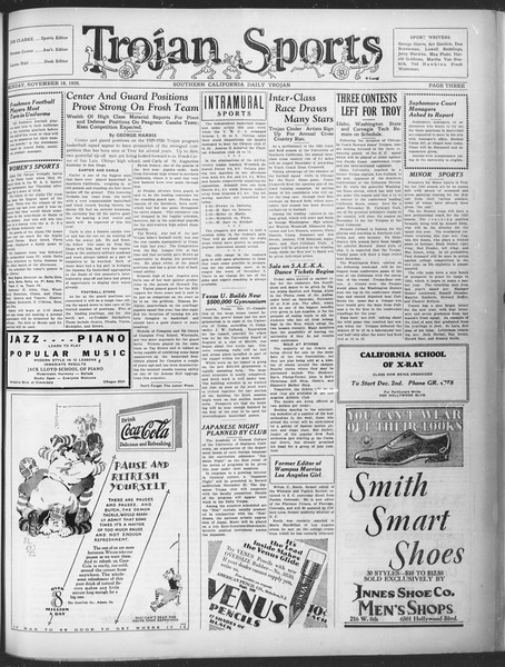 Southern California Daily Trojan, Vol. 21, No. 44, November 18, 1929