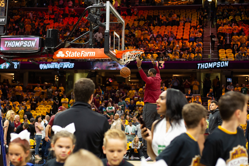 . Michael Johnson - The News-Herald LeBron James of the Cleveland Cavaliers dunks the ball prior to game 3 of the Eastern Conference finals on May 19, 2018.