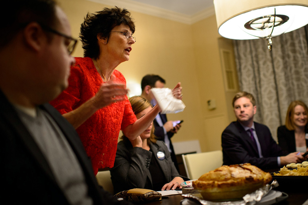 . Sen Al Franken\'s wife Franni got ready to serve some her home made apple pie, as election results came in Tuesday, Nov. 4, 2014 during the DFL Victory Party in Minneapolis, Minn. (AP Photo/The Star Tribune, Glenn Stubbe)