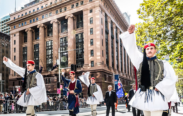 2016 ANZAC Day March with Presidential Guards of Greece (Evzones) Sydney Australia