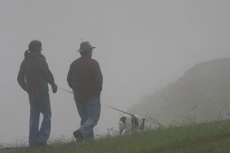 Ed, Catherine & Bessie in the fog at Lake Junaluska