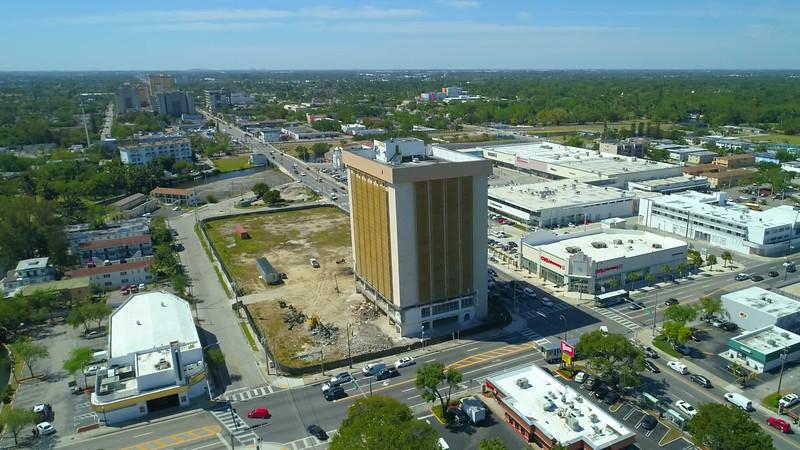 Aerial drone footage Miami old immigration building demolition 2018