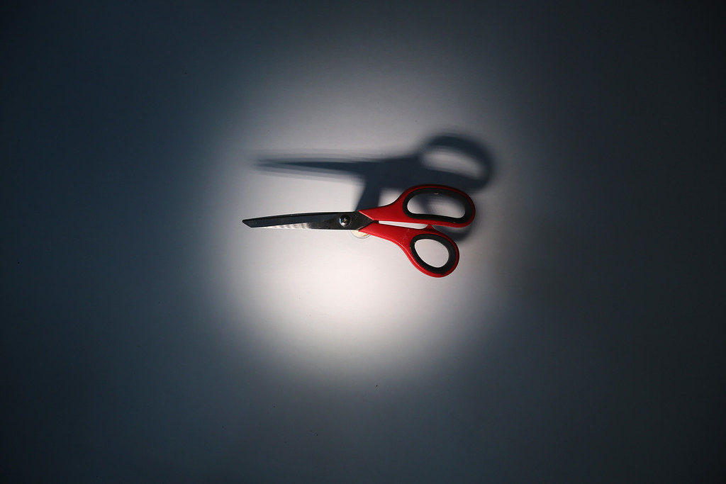 . A pair of scissors is displayed after being confiscated at an airport security checkpoint at the JFK International Airport on November 18, 2014 in New York City.  (Photo by John Moore/Getty Images)