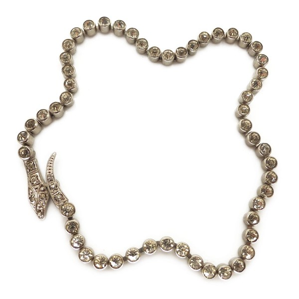 ANTIQUE ART DECO SERPENT SNAKE BEZEL SET RHINESTONE CHOKER BRACELET CHAIN