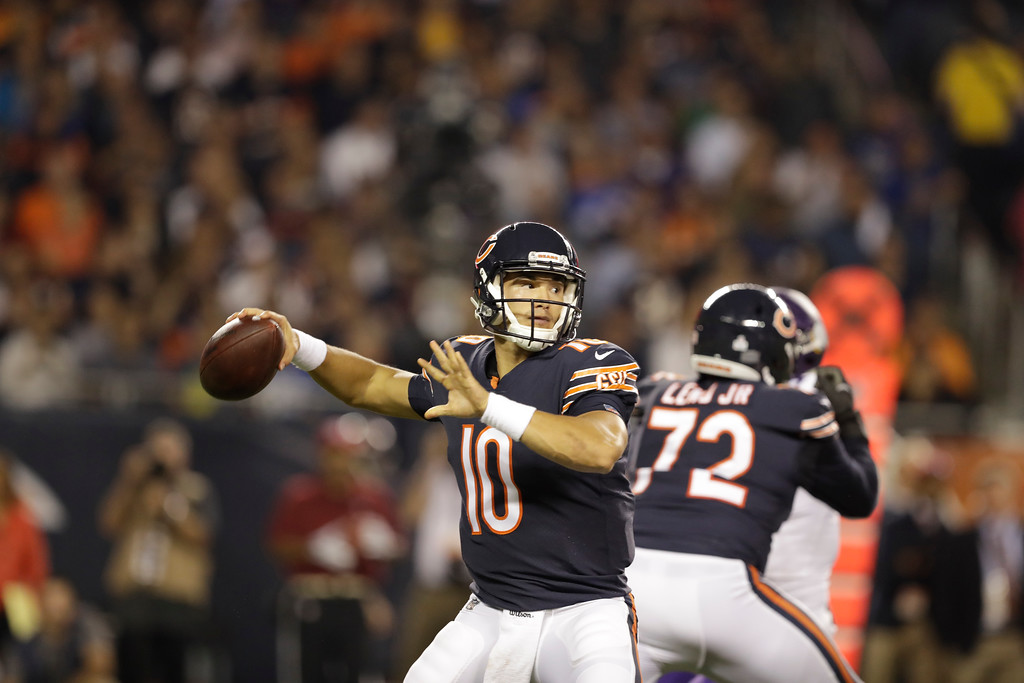 . Chicago Bears quarterback Mitchell Trubisky (10) throws a pass during the first half of an NFL football game against the Minnesota Vikings, Monday, Oct. 9, 2017, in Chicago. (AP Photo/Darron Cummings)