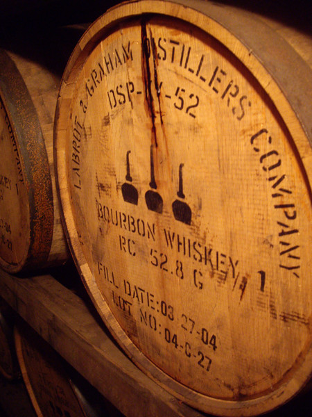 In the building where the bourbon ages.  It smelled wonderful in there.