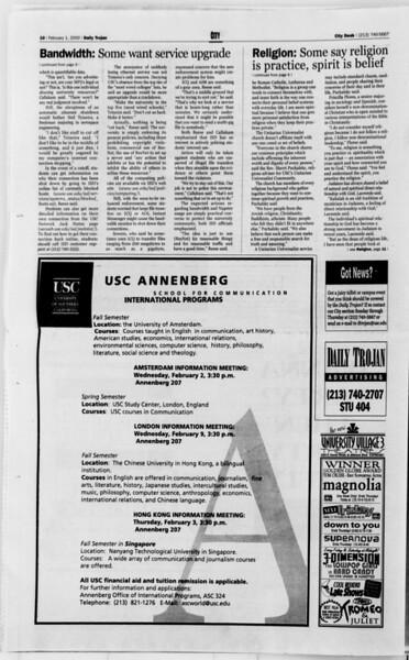 Daily Trojan, Vol. 139, No. 14, February 01, 2000