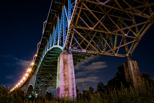 Underneath the Innerbelt Bridge in Cleveland, Ohio.  The Innerbelt Bridge, a truss arch bridge completed in 1959, carries I-90 across the Cuyahoga Valley, connecting Cleveland's West Side to Downtown.