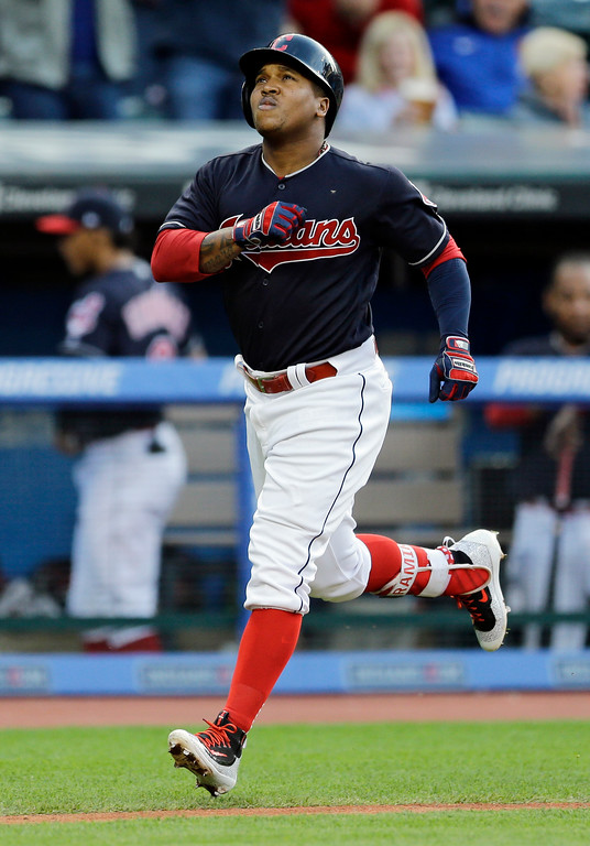 . Cleveland Indians\' Jose Ramirez runs the bases after hitting a solo home run off Kansas City Royals starting pitcher Ian Kennedy in the second inning of a baseball game, Friday, May 26, 2017, in Cleveland. (AP Photo/Tony Dejak)
