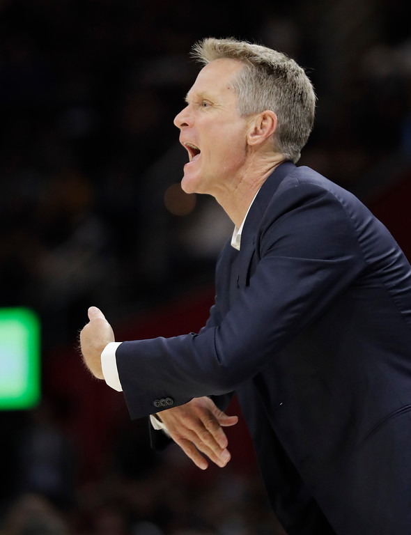 . Golden State Warriors coach Steve Kerr calls a play during the first half of Game 4 of basketball\'s NBA Finals against the Cleveland Cavaliers, Friday, June 8, 2018, in Cleveland. (AP Photo/Tony Dejak)