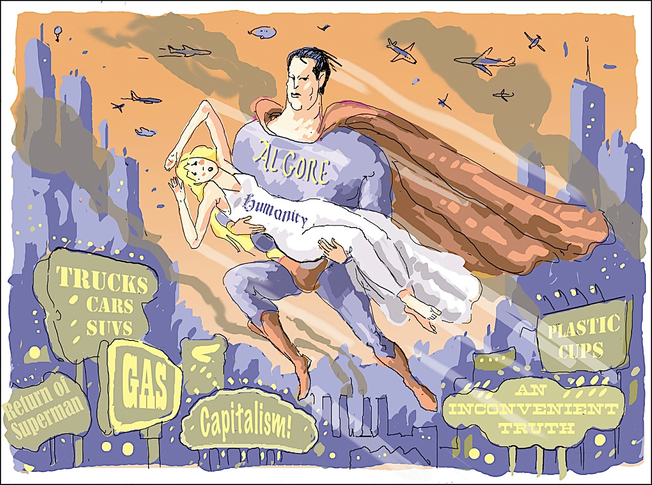 """Al Gore, Superman"" cartoon published July 6, 2006"