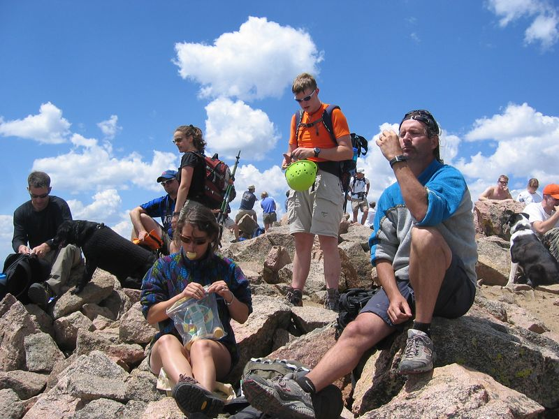 OK, at last - the crowded summit of Bierstadt - 14,060. .. Not yet 12:30.