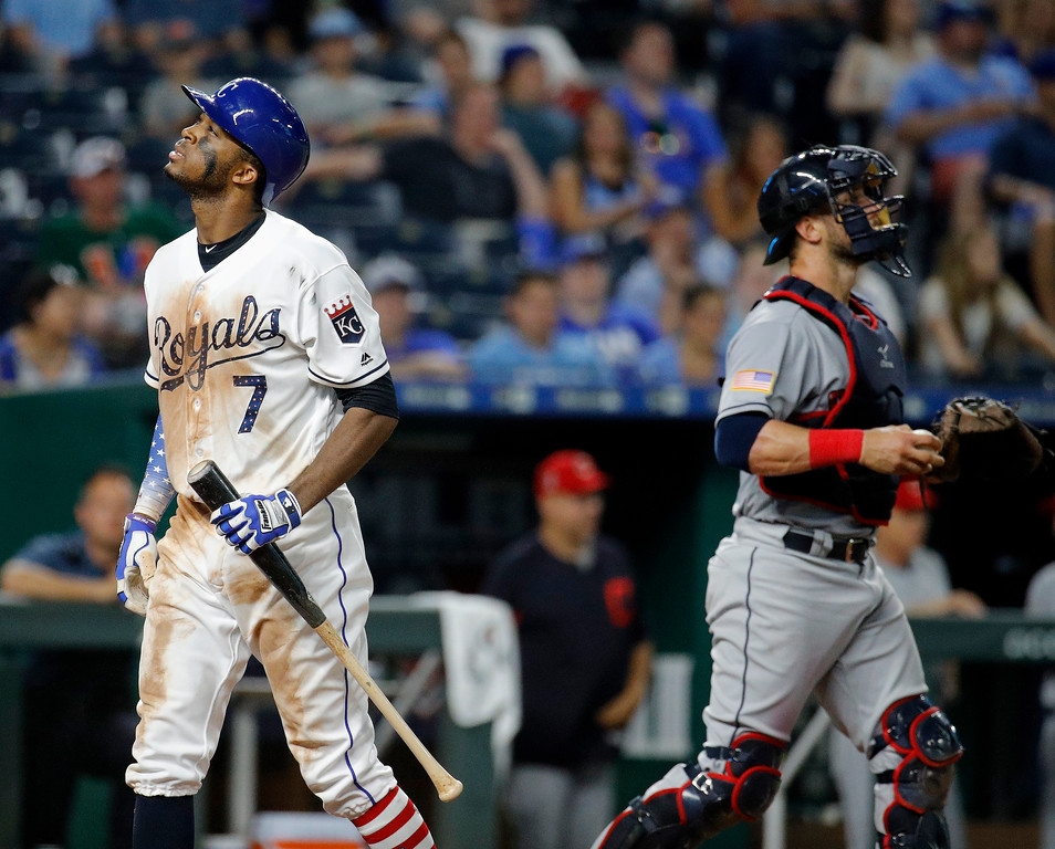 . Kansas City Royals\' Rosell Herrera walks back to the dugout after striking out during the ninth inning of the team\'s baseball game against the Cleveland Indians on Tuesday, July 3, 2018, in Kansas City, Mo. Cleveland won 6-4. (AP Photo/Charlie Riedel)