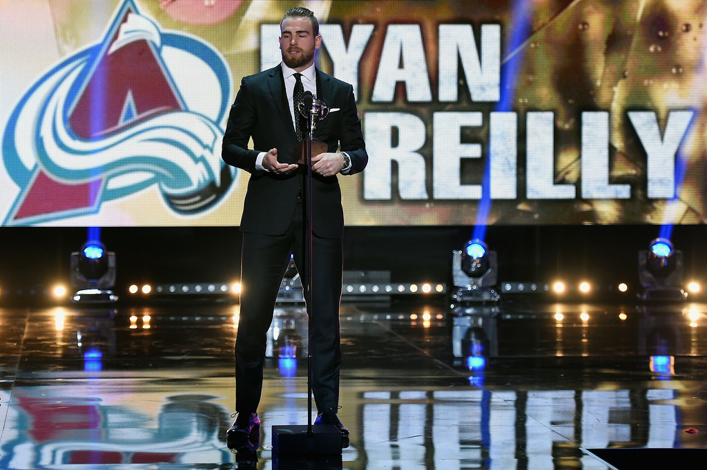. Ryan O\'Reilly of the Colorado Avalanche speaks after winning the Lady Byng Memorial Trophy during the 2014 NHL Awards at the Encore Theater at Wynn Las Vegas on June 24, 2014 in Las Vegas, Nevada.  (Photo by Ethan Miller/Getty Images)