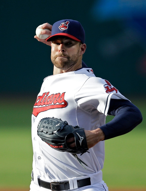 . Cleveland Indians starting pitcher Corey Kluber delivers against the Colorado Rockies in the first inning of a baseball game Friday, May 30, 2014, in Cleveland. (AP Photo/Mark Duncan)