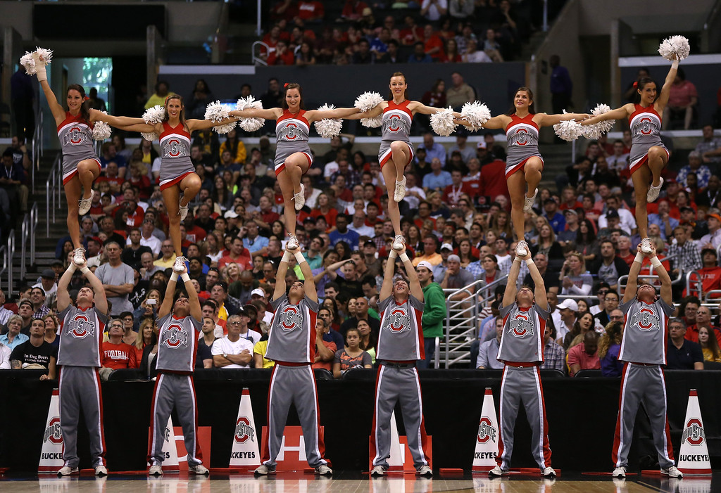 . LOS ANGELES, CA - MARCH 30:  The Ohio State Buckeyes cheerleaders perform as the Buckeyes take on the Wichita State Shockers during the West Regional Final of the 2013 NCAA Men\'s Basketball Tournament at Staples Center on March 30, 2013 in Los Angeles, California.  (Photo by Jeff Gross/Getty Images)