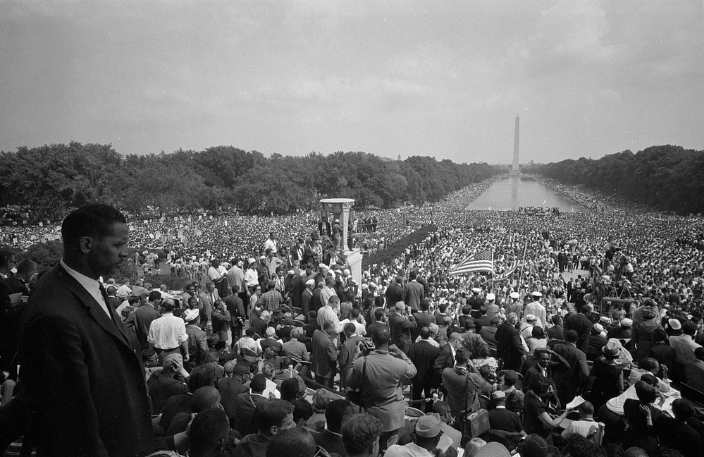 Description of . View of the huge crowd from the Lincoln Memorial to the Washington Monument, during the March on Washington. Aug. 28, 1963. (Warren K. Leffler - Library of Congress Prints and Photographs Division)
