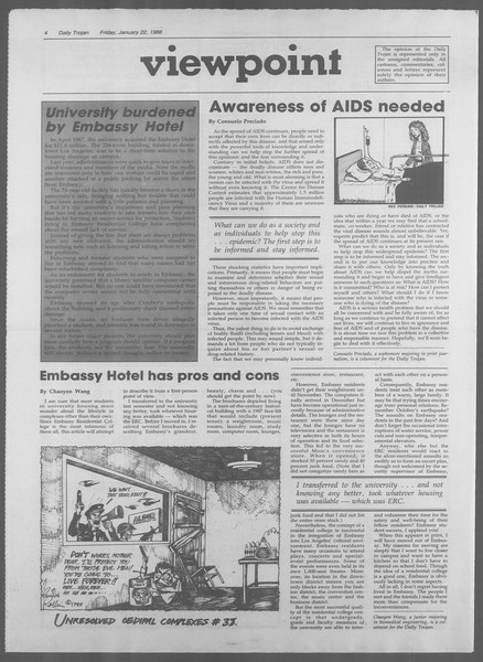 Daily Trojan, Vol. 106, No. 9, January 22, 1988