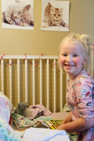 Chloe prepares her bed for the tooth fairy - February 2012