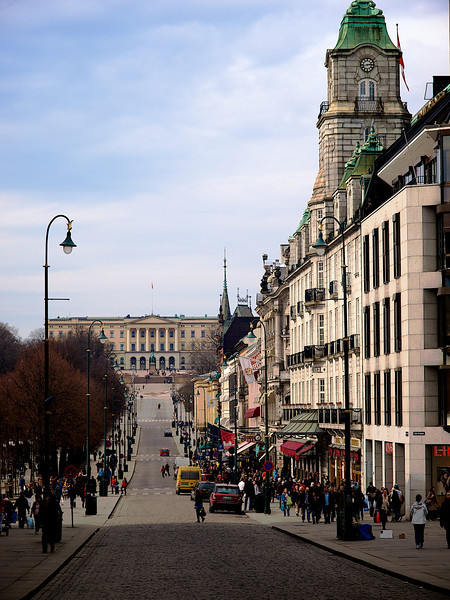Karl Johans Street, The Parade Street of the Capital with the royal Castle on the top of the hill. Oslo.
