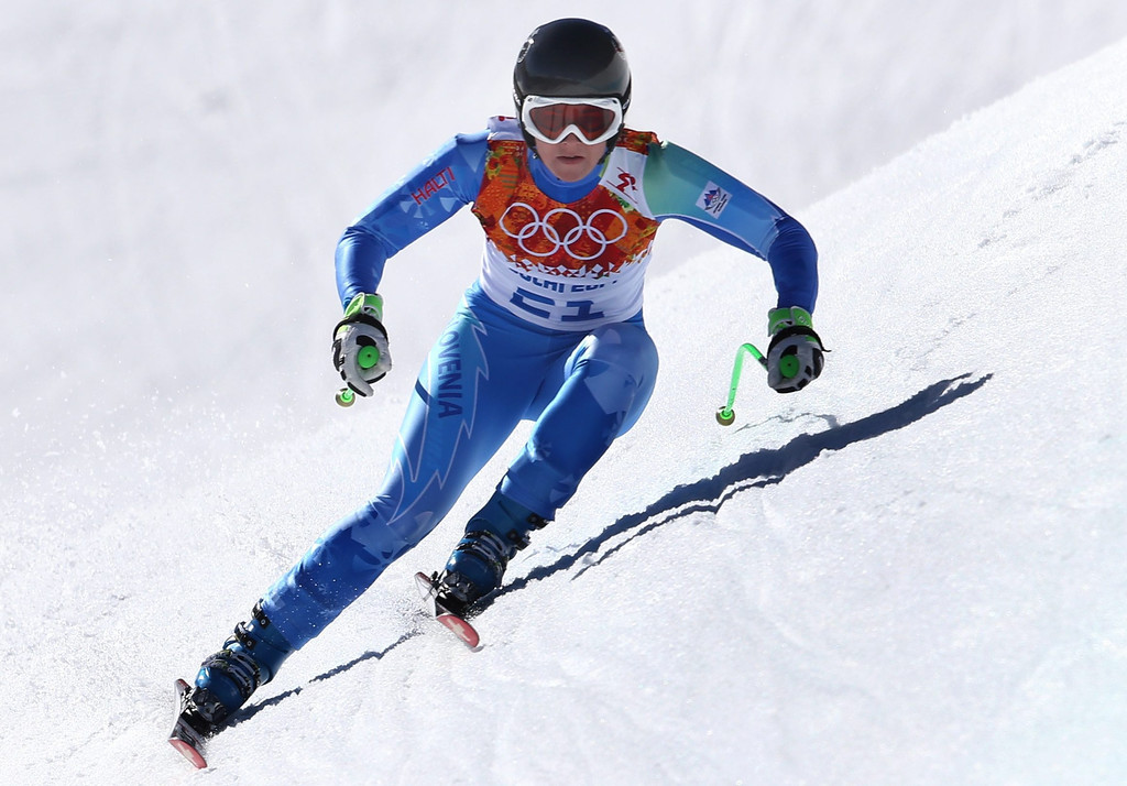 . Tina Maze of Slovenia in action during the Women\'s Downhill race at the Rosa Khutor Alpine Center during the Sochi 2014 Olympic Games, Krasnaya Polyana, Russia, 12 February 2014.  EPA/KARL-JOSEF HILDENBRAND