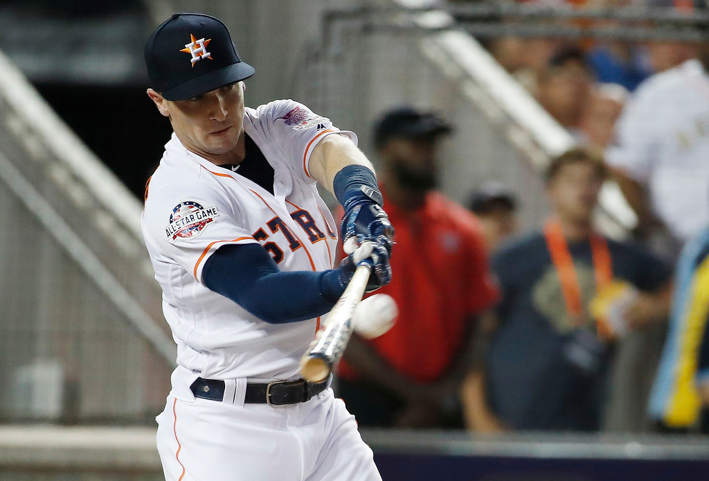 . Houston Astros Alex Bregman (2) hits during the MLB Home Run Derby, at Nationals Park, Monday, July 16, 2018 in Washington. The 89th MLB baseball All-Star Game will be played Tuesday. (AP Photo/Alex Brandon)