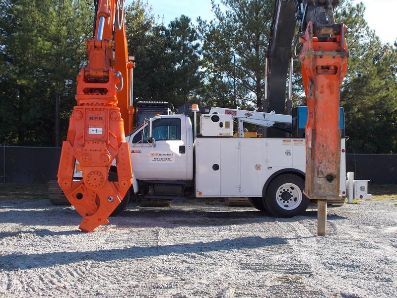 NPK M35K demolition shear on Hitachi excavator and hydraulic hammer at DemoTrax.JPG