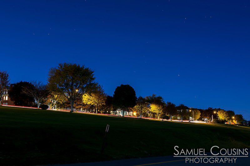 Looking up at night, from Cutter St at the Eastern Promenade.