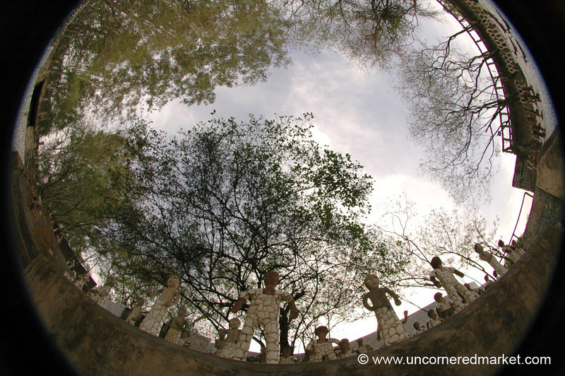 Fisheye of Chandigarh's Rock Garden - India