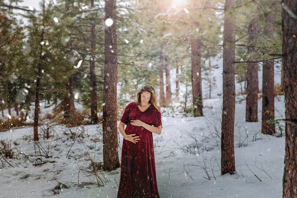Maroon Long Maternity Dress