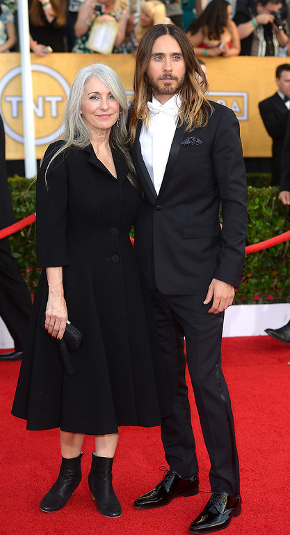 . Jared Leto and guest arrives at the 20th Annual Screen Actors Guild Awards  at the Shrine Auditorium in Los Angeles, California on Saturday January 18, 2014 (Photo by Michael Owen Baker / Los Angeles Daily News)
