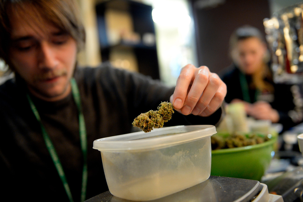 . NORTHGLENN, CO. - DECEMBER 31: Skyler Hall weighs grams of marijuana at BotanaCare 21+ in Northglenn, CO December 31, 2013. The retail marijuana center was preparing to open at 9am on January 1, 2014 when Colorado becomes the first place anywhere in the world to allow legal marijuana sales to anybody over 21 for any purpose. (Photo By Craig F. Walker / The Denver Post)