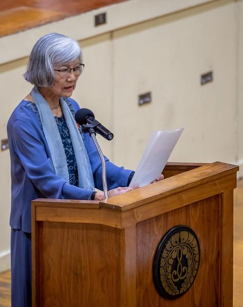Internment-camp survivor Dr. Amy Iwasaki Mass speaks.